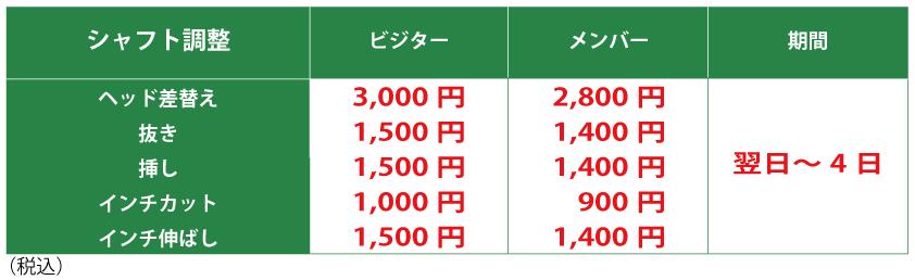 シャフト調整料金表の画像