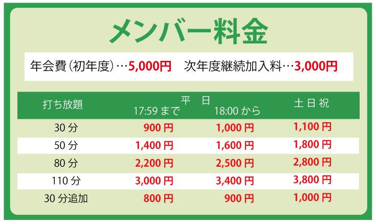 メンバー料金表